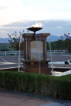 Water and fire feature in landscape design.