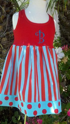 Aqua Red Stripe Circus Dress Carnival Dress Empire
