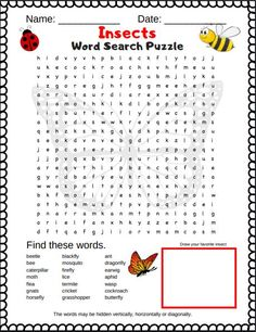 Free Printable Insect word search [creepy crawly good time]