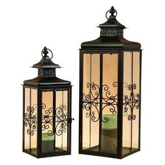 ORE International 72265 Metal Lantern Candle Holder (Set of 2)  Metal Lantern Candle Holder (Set of 2)An inviting addition to the garden, porch, or patio.