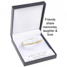 """Friends share memories, laughter and love"" Gold Plated Quote Bangle"