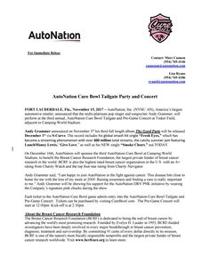 Autonation Cure Bowl Inks International Television Distribution