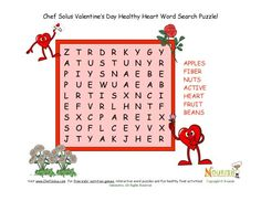 Fun Valentine 7 words - word search puzzles that promote healthy foods and activities for the heart.  Bigger letters for the younger student.