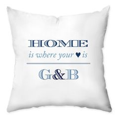 Home - Blue Personalized Throw Pillow