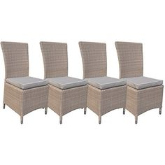 Ascot Pecan Half-Round Weave Rattan Outdoor All Weather Rattan Garden Dining Chairs Set of 4