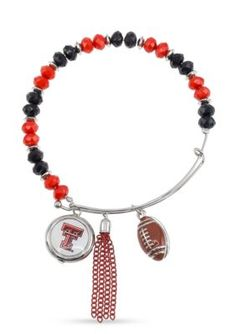 Accessory Plays Silver-Tone Texas Tech University Raiders Beaded Bangle - Red/White/Black - One Size