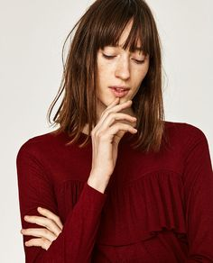 Discover the new ZARA collection online. The latest trends for Woman, Man, Kids and next season's ad campaigns. Frill Tops, Zara United States, New Outfits, No Frills, Latest Trends, Chiffon Blouses, Turtle Neck, Sweaters, Shirts