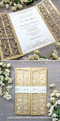 Ivory and Gold Laser Cut Wedding Invitation - Metallic Gold Laser Cut Gatefold invite with Ivory Insert and Belly Band
