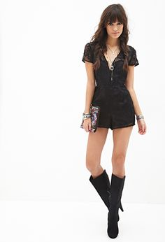 Baroque Embroidered Romper | FOREVER21 - 2000102991