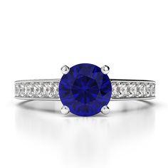 Gold / Platinum Round Cut Sapphire and Diamond Engagement Ring Gold Platinum, Diamond Engagement Rings, Sapphire, White Gold, Accessories, Diamond Engagement Ring, Ornament