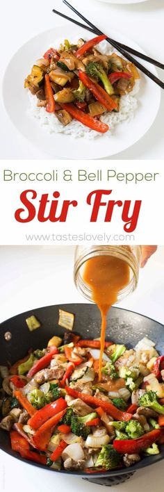 Broccoli and bell pepper chicken stir fry, made with the BEST stir fry sauce!