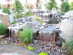 Simple backyard patio waterfall