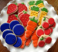 Farmers Market Cookies~ Minis by NotBettyCookies, $36.00, Orange carrots, red cherry, red strawberry, yellow corn, blue blueberry