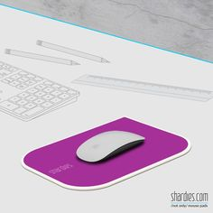 A purple 'shardies' mouse pad creates an air of luxury and brings an elegance to your work desk.