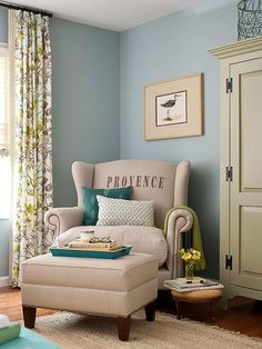 blue and green sitting room bhg