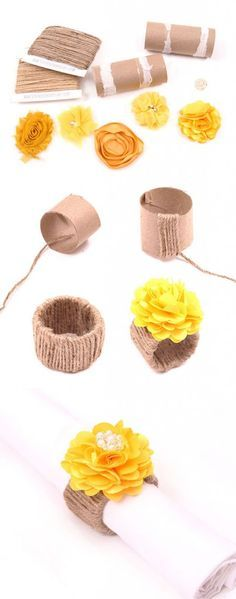 An easy craft tutorial for DIY Flower Napkin Rings uses recycled materials to be an inexpensive and beautiful way to make your own Christmas or holiday napkin ring holders!