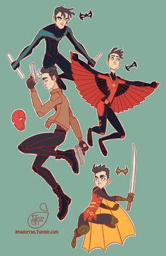 Batboys. Nightwing, Red Hood, Red Robin, & Robin.