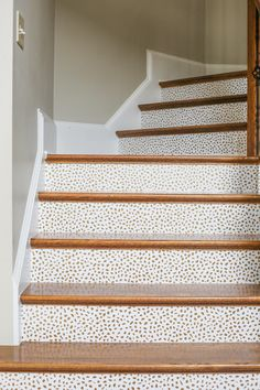 Trends in wallpaper accent walls bossy color Annie: Trends In Wallpaper Accent Walls Bossy Color Annie. Trends In Wallpaper Accent Walls Bossy Color Annie. Wallpaper Stairs, Diy Wallpaper, Flooring For Stairs, Wood Stairs, Basement Remodel Diy, Basement Remodeling, Foyers, Painted Stair Risers, Old Fashioned Christmas Decorations