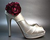 Wedding Shoes -- Ivory Peeptoes with Lace Overlay and Red and Pink Blended Flower