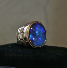Handmade Black Opal Mens Ring 14k solid yellow gold size 12.5 . Blue Solitaire in Jewelry & Watches, Men's Jewelry, Rings | eBay