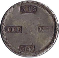 05 Pesetas 1809 Fernando VII. Tarragona. Plata.