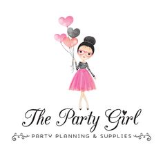 Premade Logo - Party Girl Premade Logo Design - Customized with Your Business Name! Business Names, Business Logo, Business Card Design, Bridal Logo, Party Logo, Event Planning Business, Fashion Logo Design, Kids Logo, Branding