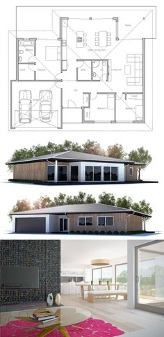 1 story transitional/mod home One Level House Plans, Dream House Plans, Small House Plans, House Floor Plans, Dream Home Design, Modern House Design, Le Bono, Casas Containers, Rural House