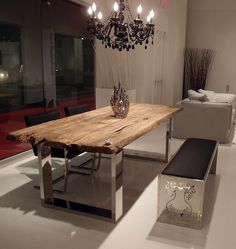 I Can Not Express How Much I Love The Mix Of Wood And Metal/mirror In  Furniture! Modern Dining Furniture At The Las Vegas World Market. That Table !