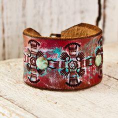 Leather Bracelet Cuff by rainwheel on Etsy, $44.00