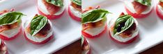 Watermelon goat cheese bacon basil balsamic apps