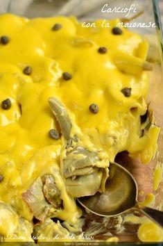 Carciofi con la maionese, ricetta di famiglia facilissima e golosa, per un contorno diverso dal solito. Macaroni And Cheese, Antipasto, Meat, Chicken, Ethnic Recipes, Nail, Food, Contouring, Mac And Cheese