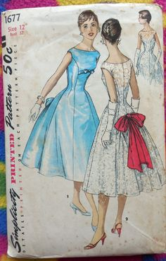 Here is a beautiful and RARE 1950s evening gown pattern.  This gorgeous pattern is dripping with glamour!  Heres what all you can make:  A.) Features