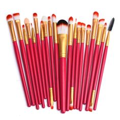 BESSKY 20PCs Makeup Brush Set tools Make-up Toiletry Kit Wool Make Up Brush Set, Red B * Learn more by visiting the image link. (Note:Amazon affiliate link)