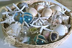 Seashell Basket Coffee Table Decor