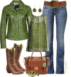 """Green Lizard Top & Leather"" by jaimie-a on Polyvore"