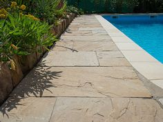 Mit einem Poolrand aus Sandstein bringen Sie den Sommer in Ihren Garten! – stonenaturelle Basement Stairs, Home Remodeling, Mint, Tile Floor, Sidewalk, Outdoor Decor, Design, Anonymous, Public