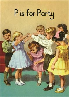 Vintage Ladybird Book Illustration - The Party. Party Vintage, Vintage Birthday, Vintage Style, Vintage Children's Books, Vintage Cards, Learn To Read Books, Illustrations Vintage, Images Vintage, Ladybird Books