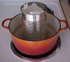 Melt the candle wax in a double boiler.