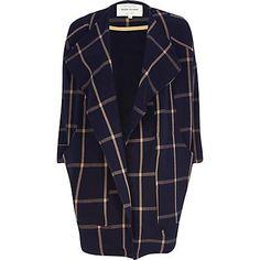 385f4f8fccf77 Navy check oversized waterfall coat $130.00 (River Island) Waterfall Coat,  Chunky Knitwear,