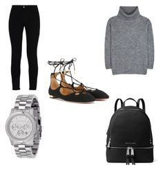 Lace up flat outfit by shirlygold on Polyvore featuring polyvore fashion style Yves Saint Laurent STELLA McCARTNEY Aquazzura MICHAEL Michael Kors Michael Kors clothing Trendy womenswear
