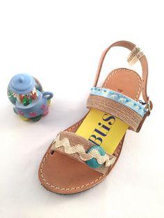 "Leather Sandals ""Themida"" (Handmade to order) kids gift / boho / bohemian / colorful / ribbon / unique / kids / girl / baptism / summer by BlissDesigners on Etsy"