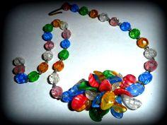 Antique Vintage Handblown  Murano Art Glass Multi Color Glass Bead Necklace #Murano #Collar
