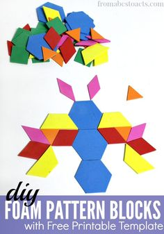 Pattern blocks can be used for so many fun preschool math activities and now you can make your own! All you need is some craft foam and this free printable template!