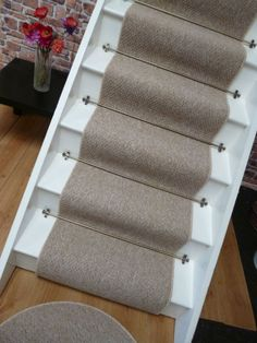 Carpet Stair Runner To Fit 13 Stairs, Berber Style, Mottled Beige, Low Cost