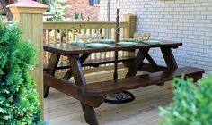 Accessorize and Organize: Stained picnic table