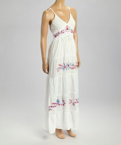 Another great find on #zulily! White Floral Embroidered Empire-Waist Maxi Dress by Cute Options #zulilyfinds