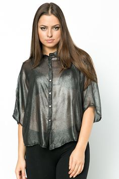 Cut-Out Back Metallic Batwing Blouse @ Everything5pounds.com