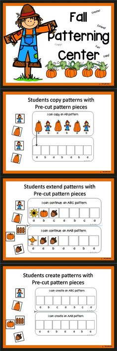 "Patterning fun!   What teachers are saying about Fall Pattering...  ""We will begin our patterning unit soon, and I was excited to find something that actually includes the AB, ABB etc. wording. Thanks!""  ""My students enjoy these centers!""  ""Super cute! Handy!"""