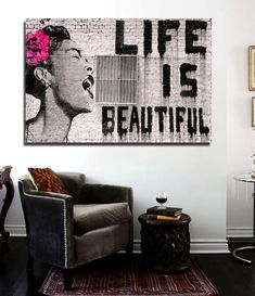Banksy Life is Beautiful Street Art Canvas Print 36 x 24 print Urban Art    This is a HIGH QUALITY Patch CANVAS Fabric Brand NEW, well detailed, professionally printed, and durable. Photos/Posters are sold from one collector to another no rights are implied or given. Posters are