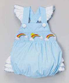 Love this Blue Rainbow Smocked Ruffle Bubble Bodysuit - Infant & Toddler by Smocked or Not on #zulily! #zulilyfinds